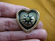 (z16-26) Black star flower design Czech glass button heart dot brass brooch pin