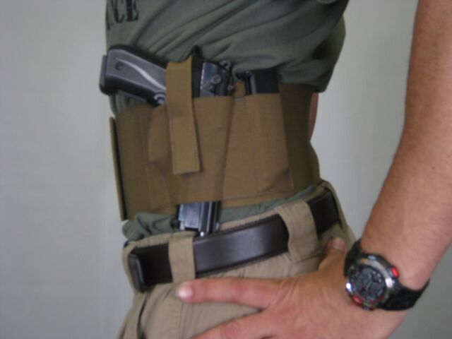TACTICAL Adjustable Belly Band Waist Concealed Gun Holster ZIPPER PKT TAN XL
