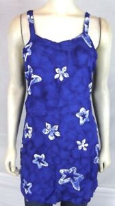 Bali-Girl-Blue-Star-Floral-Beach-Cover-dress-Tunic-Top-Women-039-s-Size-Medium-Large