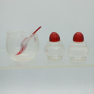Ribbed Glass Round Salt Pepper Shakers Red Lid + Glass Bowl Red Spoon Vintage