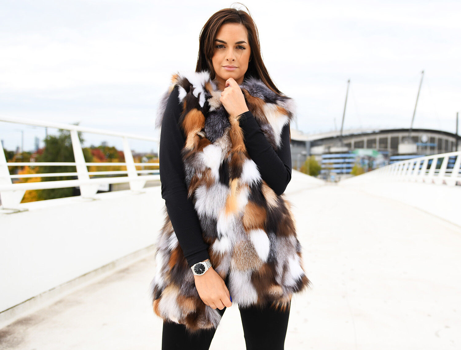 Pieced MultiFarbe Fox Fur Vest