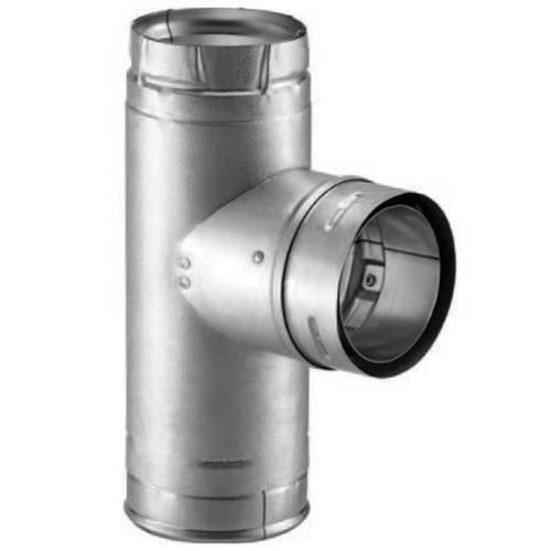 """DuraVent Pellet Vent Pro 4/"""" Single Tee with Cleanout cap Galvalume 4PVP-T"""
