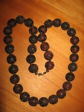 """Vintage Cinnabar 25"""" large .5"""" bead longevity shou china red brown necklace A9"""