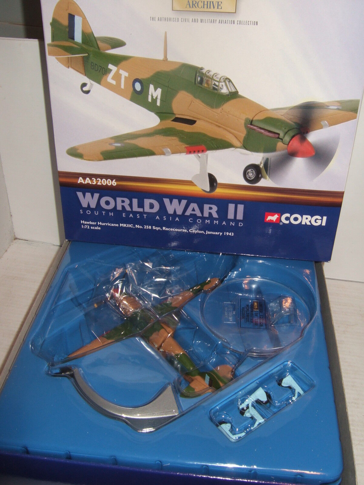 Corgi Aviation AA32006 Hawker Hurricane 258 Sqn, Ceylon in 1 72 Scale