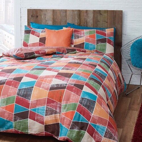 Retro Geo Geometric Red Orange Blue Brown Green KINGSIZE Duvet Set NEW Home Gift