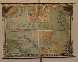 Schulwandkarte-Deutsche-Suedsee-Kolonien-212x159cm-1910-vintage-german-wall-map