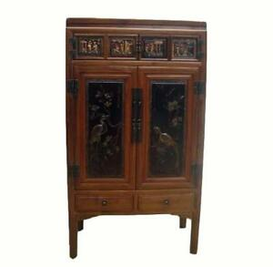 Image Is Loading Cabinet W Two Panel Doors Carved With Crane