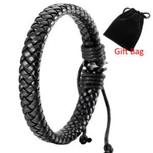 Hot-Mens-Womens-Leather-Black-Bracelet-Bangle-Cuff-Rope-Surfer-Wrap-Adjustable