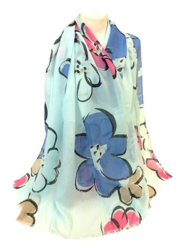 New Design Womens Ladies Flowers Scarf Drawing Floral  Dual Colour Shawl Sarong
