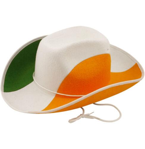 COWBOY HAT GREEN WHITE ORANGE ST PATRICKS DAY IRELAND ADULT FANCY DRESS