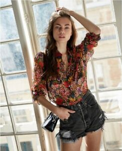 The-Kooples-Georgette-Red-Cocktail-Flowers-Shirt-Size-1-NWT-RRP-185
