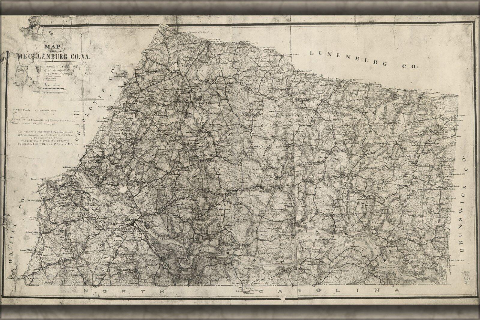 Plakat, Viele Größen; Karte von Mecklenburg Co Virginia 1864
