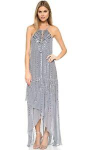 Parker-Kansas-Midi-sequin-Beaded-Blue-Mist-High-low-Maxi-Dress-Size-XS-S-M-NWT