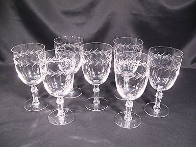 Fostoria Glass Holly Pattern Water Goblet Stem 6030 Cut 815 Group of 7
