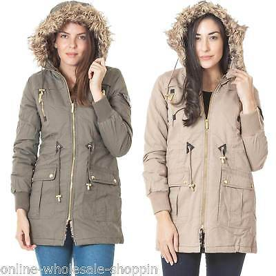 Obligatorisch New Womens Brave Soul Parka Fur Hooded Padded Jacket Ladies Coat Size S M L Xl 8