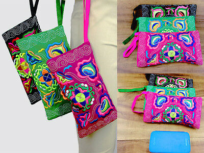3 pc Vintage Hmong Thai Indian Ethnic cosmetic Hobo Hippie makeup holder bag 012