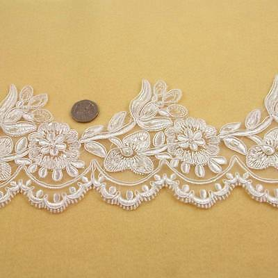1 METRE CREAM / IVORY BEADED LACE 125mm WIDTH BRIDAL TRIM TRIMMING HL1405