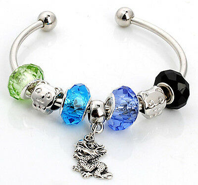 1pc nice handmade charm cuff bracelet fit European multicolor mix beads S-654