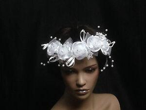 UK-Crystal-Pearl-Beads-Lace-Silk-Flower-Bridal-Wedding-Headpiece-Comb-10049