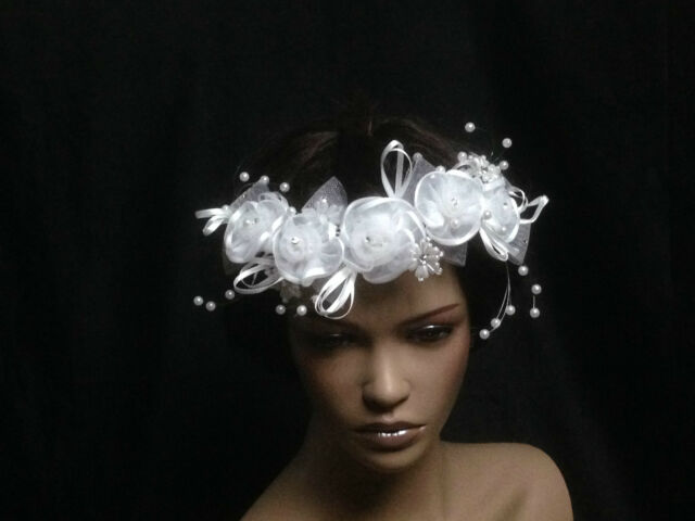 UK - Crystal Pearl Beads Lace Silk Flower Bridal Wedding Headpiece Comb - 10049