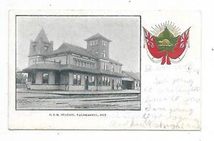 PALMERSTON-ONTARIO-Grand-Trunk-Railway-Station-Patriotic-Heraldic-Postcard