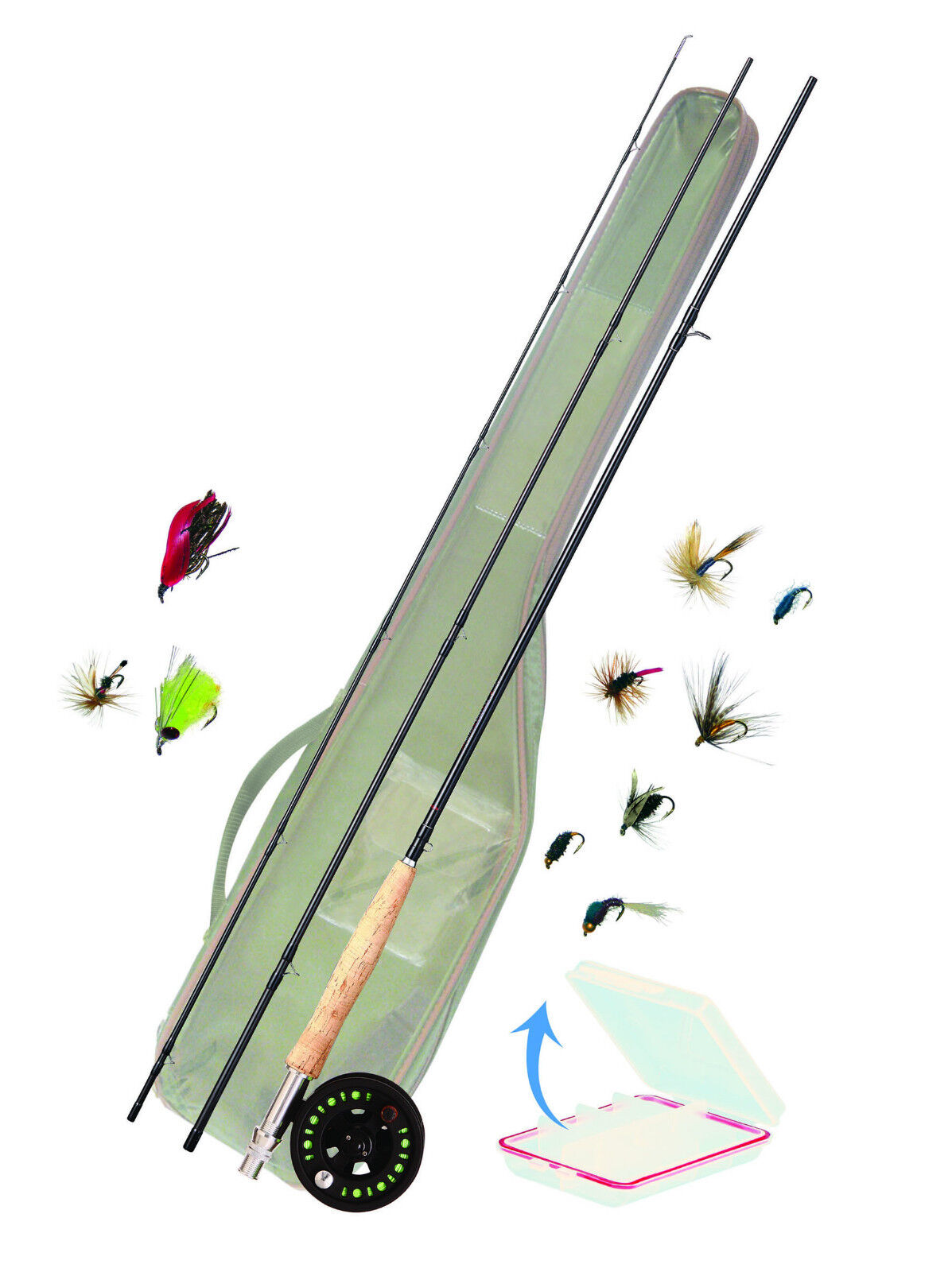 Fliegenfischen Fliegen-Komplettset Fliegen-Komplettset Fliegen-Komplettset AFTMA 6/7  Deluxe mit Großkernfliegenrolle fab3fa