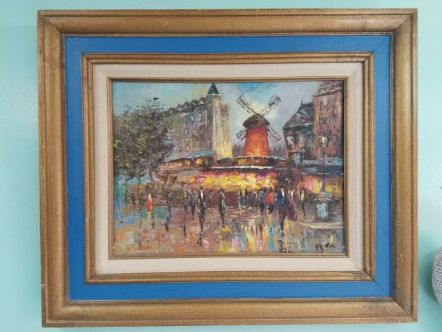 Moulin Rouge Impressionist Paris Street Scene Oil Painting Framed Signed by  G?