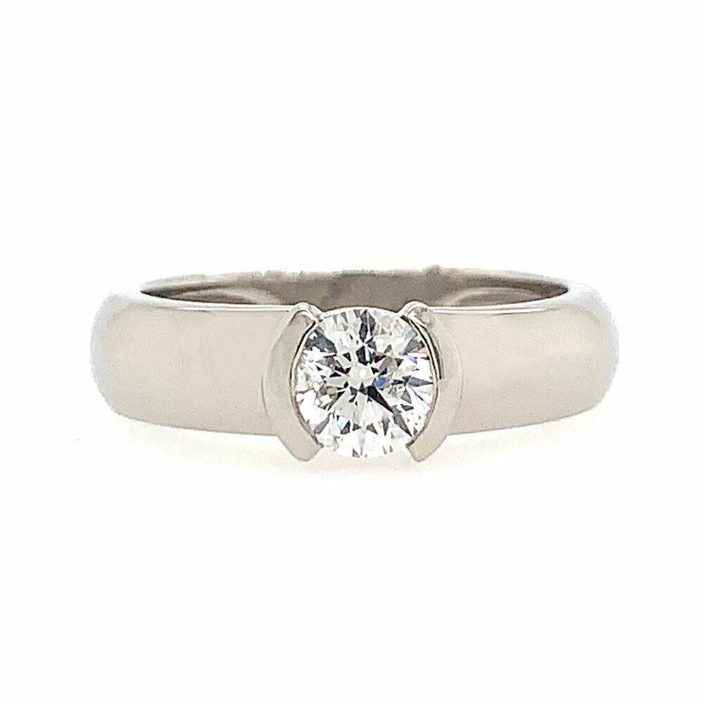 0 51 Ct F Si1 Round Cut Diamond Half Bezel Solitaire Engagement Ring In Platinum Ebay