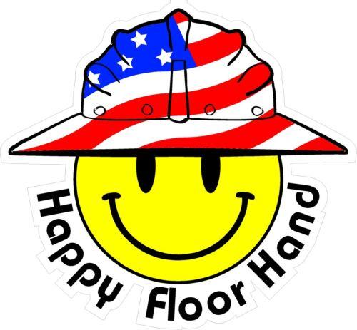 Happy Floor Hand Smiley USA Hardhat Oilfield Helmet Toolbox Sticker  H844 3