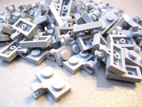 100 pieces Lego 1x2 Grey Plate wHorizontal Clip #11476