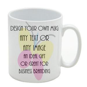 Design Your Own Coffee Tea Mug Any Image Logo Name Text Gift