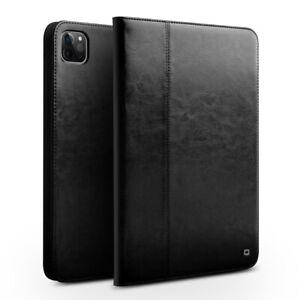 iPad-Pro-12-9-034-2020-Huelle-QIALINO-Klassisch-Echtleder-Smart-Case-Schutz-Schwarz