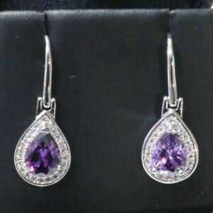 Sparkling-Purple-Pear-Amethyst-Earring-Drop-Women-Jewelry-14K-White-Gold-Plated