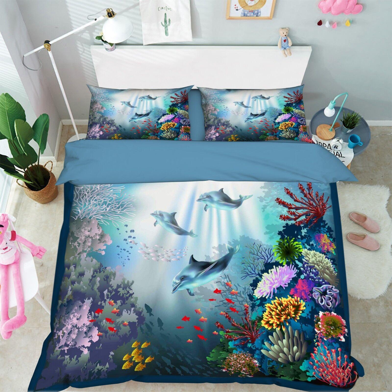 3D Dolphin Ocean 679 Bed Pillowcases Quilt Duvet Cover Set Single King UK Summer