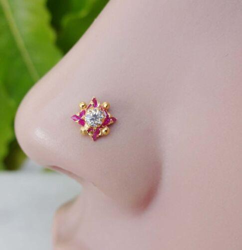 Gold Nose Hoop Mère Jour Cadeau Ruby Nez Pin Gold Piercing au nez Indian Nose Stud