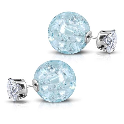 Doppel-Ohrstecker Damen Ohrringe Kristallperle Zirkonia Plasma Kugel Kristall