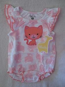 First-Moments-Baby-Girl-Romper-Size-3-months-Kitty-Design-White-Pink-Cotton-New
