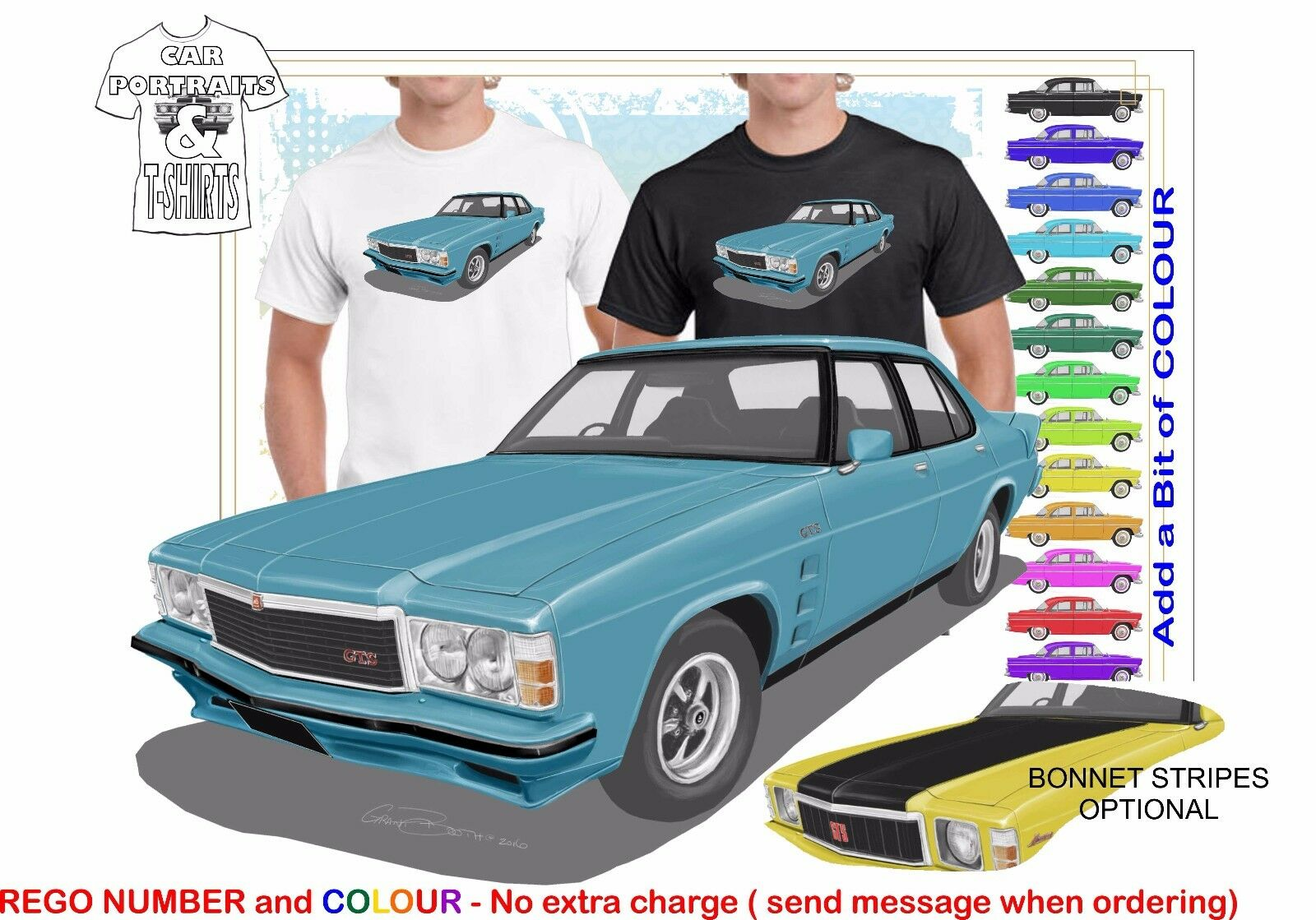 CLASSIC 77-80 HZ HOLDEN MONARO 4 DR ILLUSTRATED T-SHIRT MUSCLE RETRO SPORTS