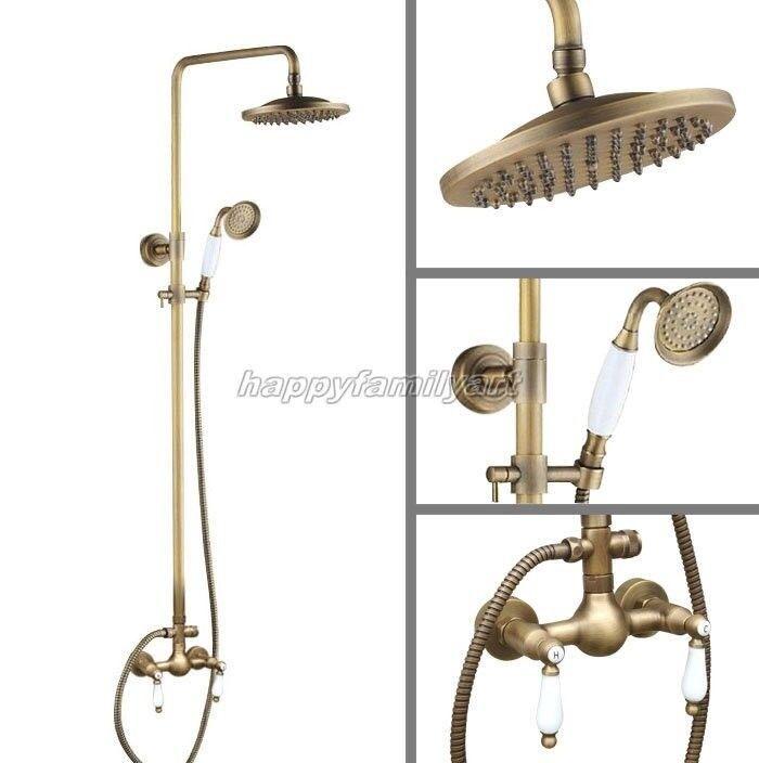 Bronze antique précipitations salle de bain douche robinet set double poignées en céramique yan118