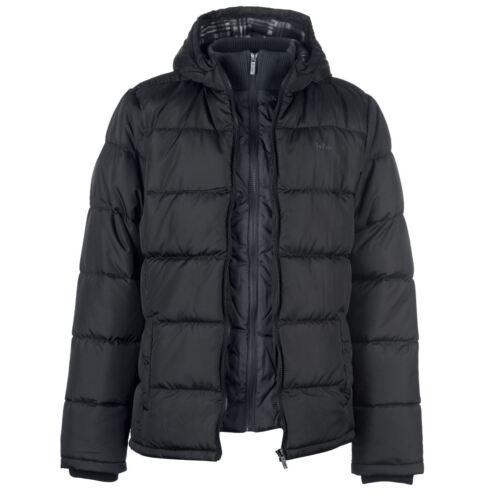 Men/'s Designer 2 Zip Padded Jacket Hip Hop Lee Cooper Parka Bk Time Money Is