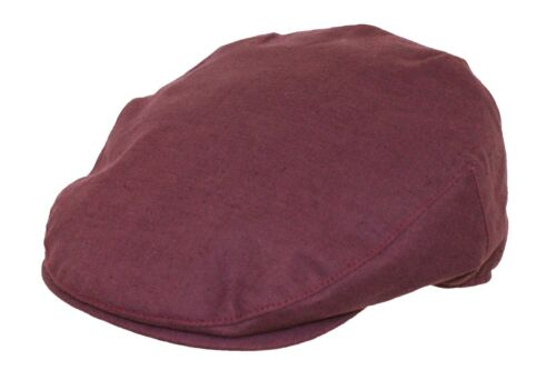 Mens Quality Cheshire Summer Maroon Linen Flat Cap 100/% Linen Lined Hat S to XL