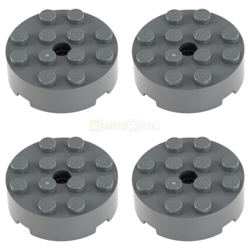 4x LEGO® 87081 4x4 Rund-Stein mit Loch neu-dunkelgrau NEU
