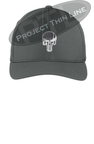 Tactical Subdued Skull SWAT 511 Black White Flex Fit Baseball Cap Hat