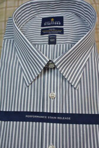 NWT $60 Stafford Performance Navy Stripe Long Sleeve Dress Shirt 18-38//39