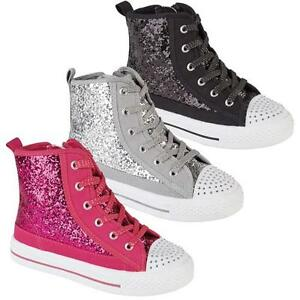 980d99b4e0eb GIRLS HI TOPS TRAINERS INFANTS FANCY GLITTER CANVAS HIGH ANKLE BOOTS ...