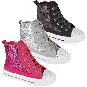 GIRLS-HI-TOPS-TRAINERS-INFANTS-FANCY-GLITTER-CANVAS-HIGH-ANKLE-BOOTS-SHOES-SIZE