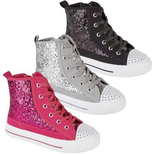 GIRLS HI TOPS TRAINERS INFANTS FANCY GLITTER CANVAS HIGH ANKLE BOOTS SHOES SIZE