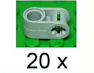 LEGO-Technik-20-Verbinder-90-Grad-Loch-Achsloch-hellgrau-6536-NEUWARE