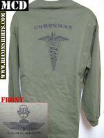 Usmc Recon Long Sleeve T-shirt/ Mcd/ Hospital Corpsman/ Navy/ Military/