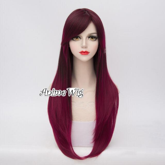 Magenta Mixed Purple Ombre Heat Resistant Cosplay 70CM Lolita Women Full Wig